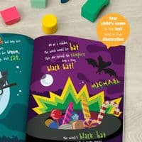 Personalised Halloween Book - A spooky adventure on the night of Halloween, shows all the colourful spooky things that happen.